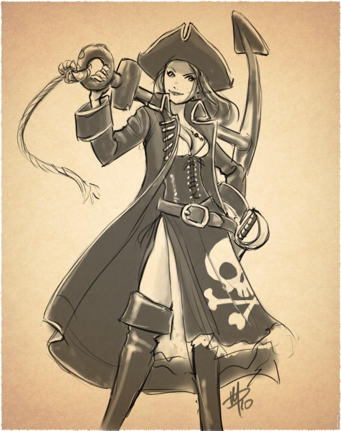 Female pirate drawing - photo#5